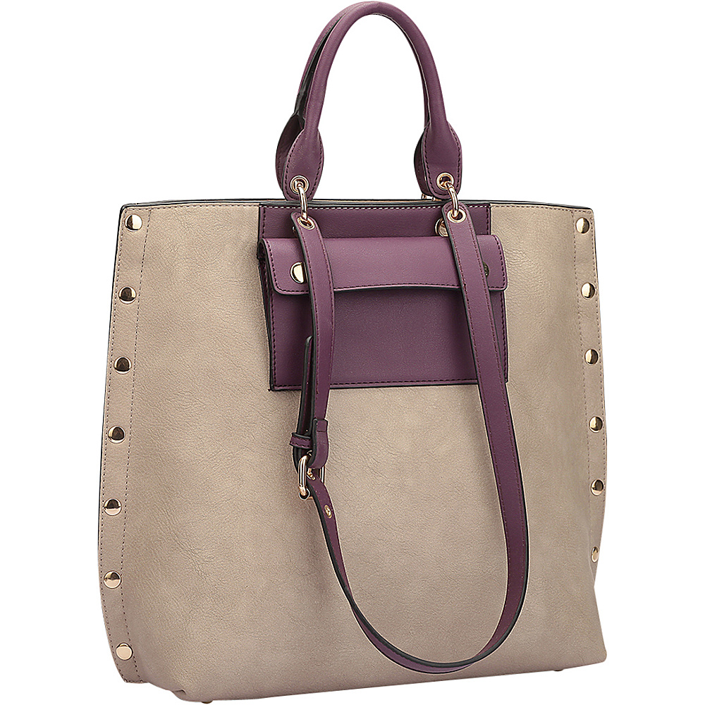 Dasein Gold Accent Front Pocket Tote Stone/Purple - Dasein Manmade Handbags - Handbags, Manmade Handbags