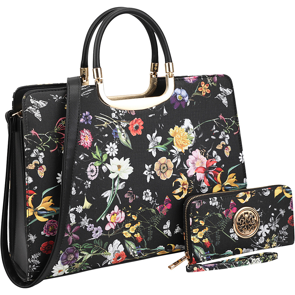 Dasein Flower Print Briefcase Satchel with Matching Wallet Black Flower - Dasein Manmade Handbags - Handbags, Manmade Handbags