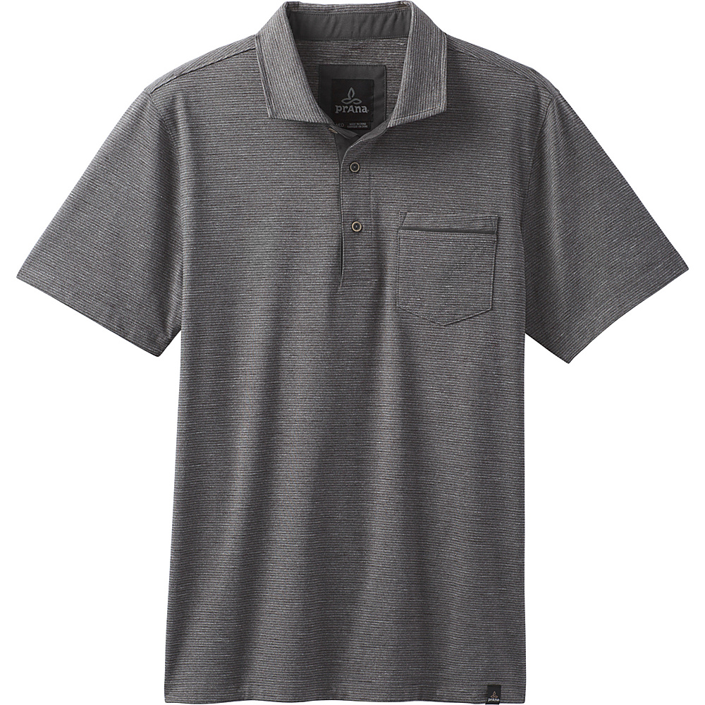 PrAna Pacer Short Sleeve Polo M - Charcoal - PrAna Mens Apparel - Apparel & Footwear, Men's Apparel