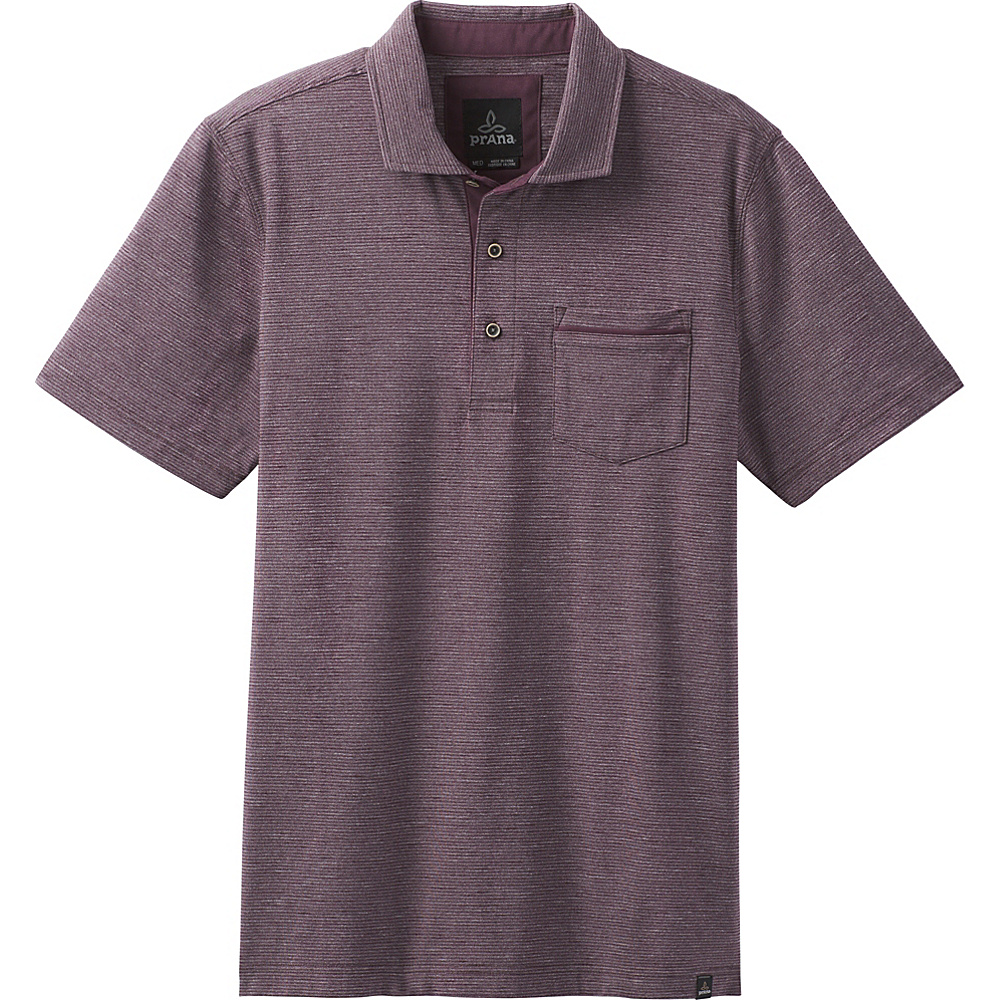 PrAna Pacer Short Sleeve Polo XL - Dark Plum - PrAna Mens Apparel - Apparel & Footwear, Men's Apparel