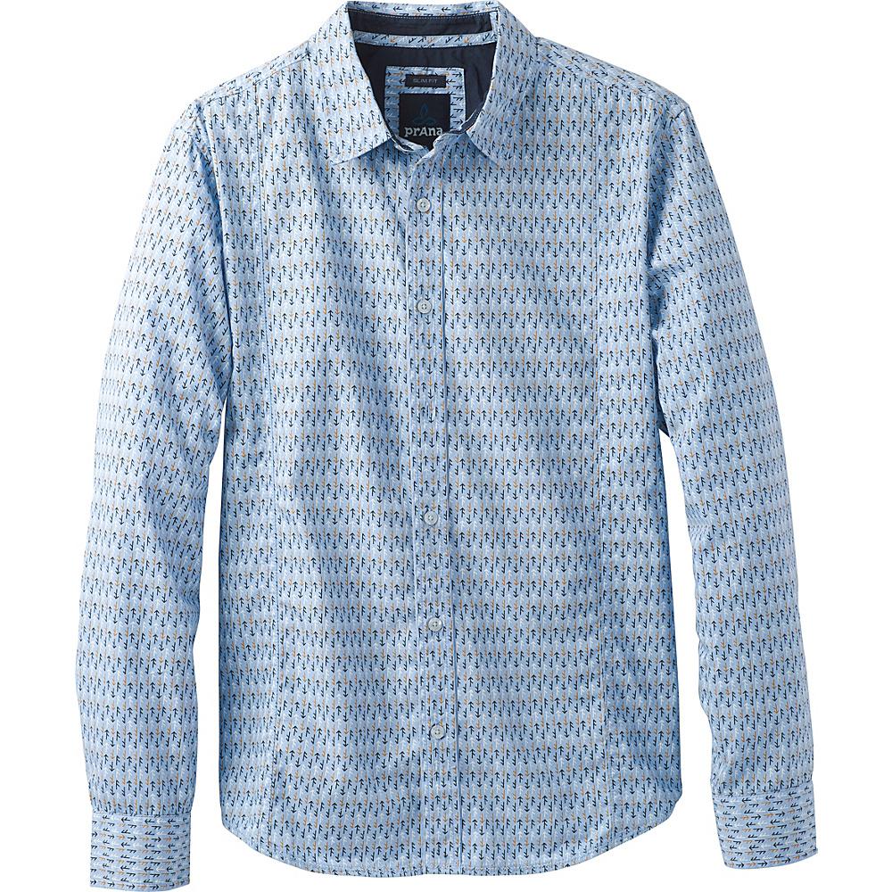 PrAna Lukas Slim Shirt L - Aspen Blue - PrAna Mens Apparel - Apparel & Footwear, Men's Apparel