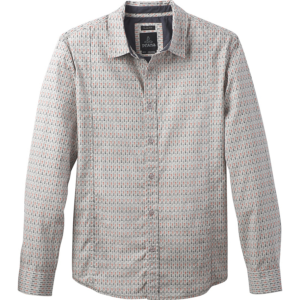 PrAna Lukas Slim Shirt L - Gravel - PrAna Mens Apparel - Apparel & Footwear, Men's Apparel