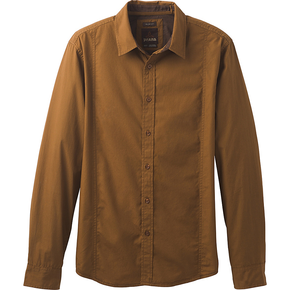 PrAna Lukas Slim Shirt L - Sepia - PrAna Mens Apparel - Apparel & Footwear, Men's Apparel