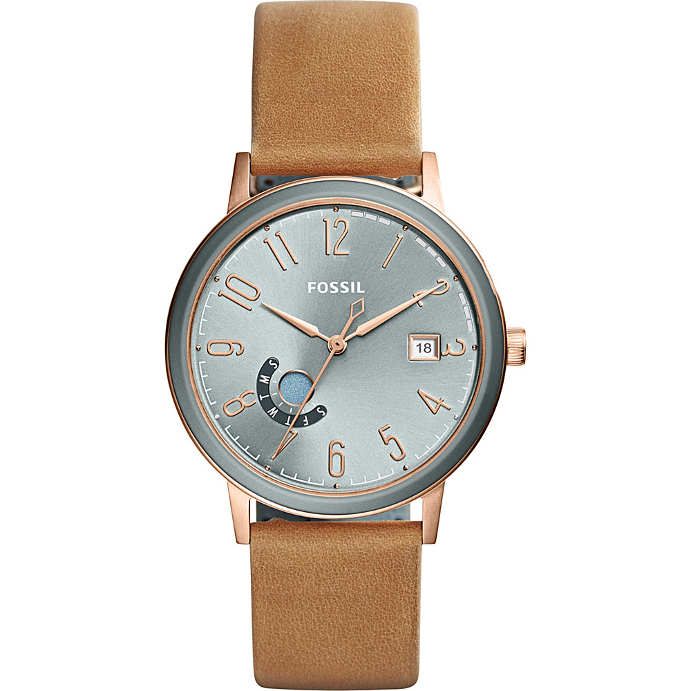 Fossil Vintage Muse Three-Hand Day-Date Tan Leather Watch Brown - Fossil Watches - Fashion Accessories, Watches