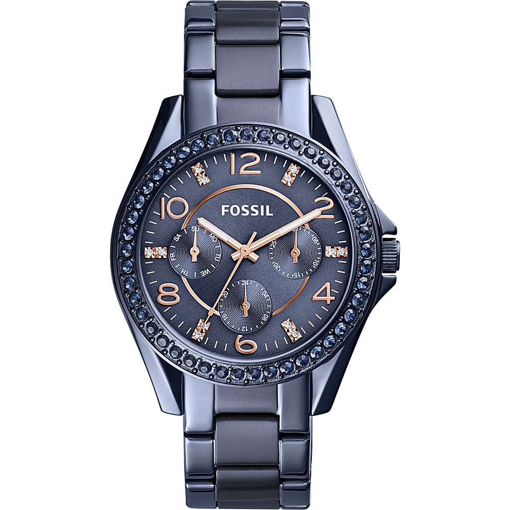 Fossil Riley Multifunction Blue Stainless Steel Watch Blue - Fossil Watches - Fashion Accessories, Watches