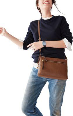 Fossil Fiona EW Crossbody Medium Brown - Fossil Leather Handbags