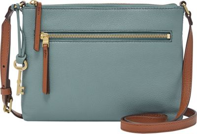 Fossil Fiona EW Crossbody Blue - Fossil Leather Handbags