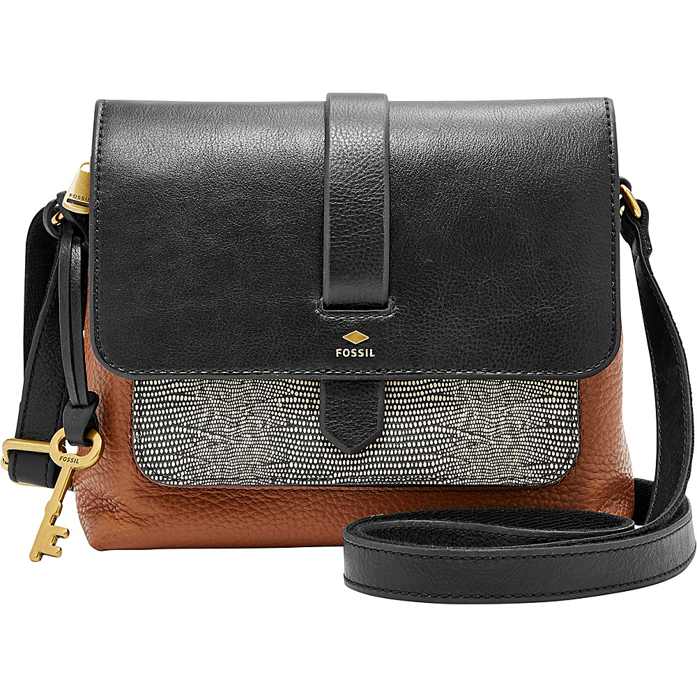 Fossil Kinley Small Crossbody Black/Brown - Fossil Leather Handbags - Handbags, Leather Handbags