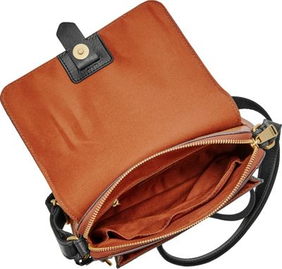 Fossil Kinley Small Crossbody Black/Brown - Fossil Leather Handbags