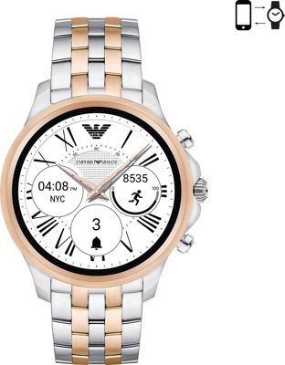 Emporio Armani Full Display Smartwatch Silver/RoseGold - Emporio Armani Wearable Technology