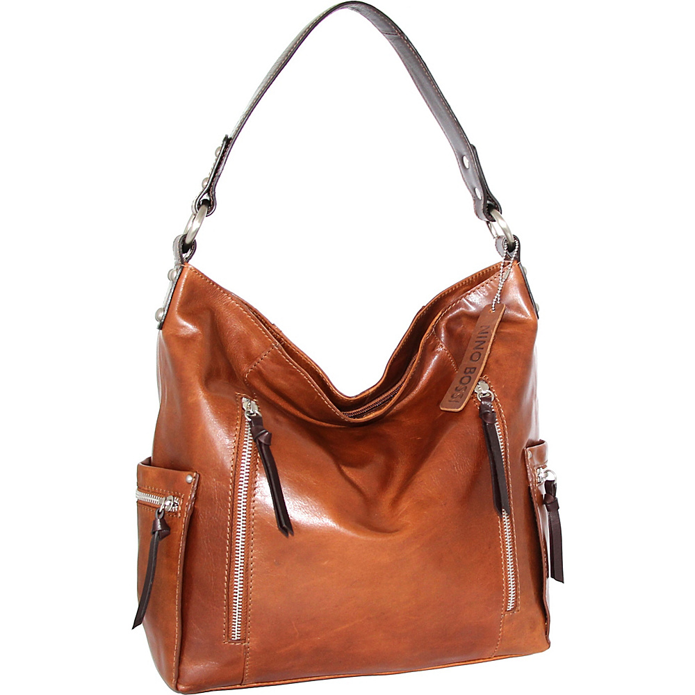 Nino Bossi Justice Shoulder Bag Cognac - Nino Bossi Leather Handbags - Handbags, Leather Handbags