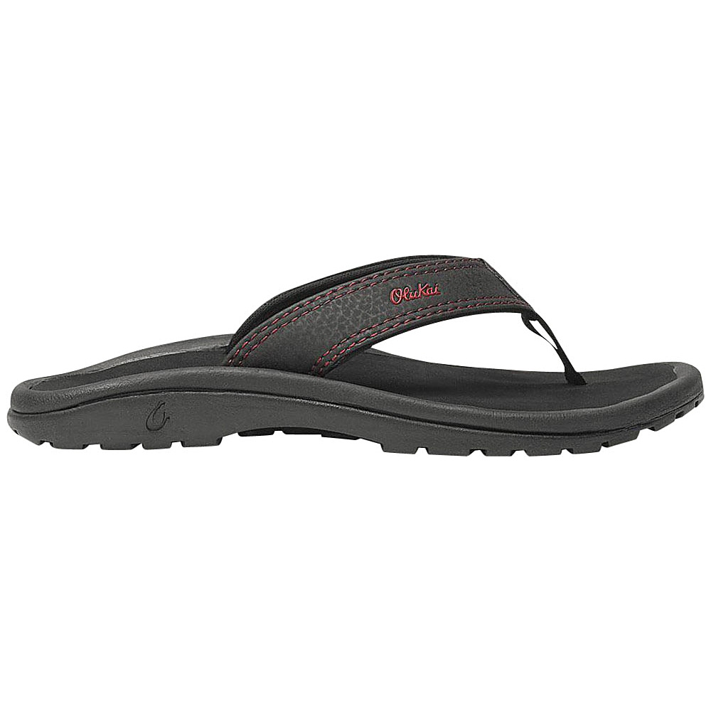 OluKai Boys Ohana Sandal XS (US Kids) - Black/Sour Cherry - OluKai Mens Footwear - Apparel & Footwear, Men's Footwear