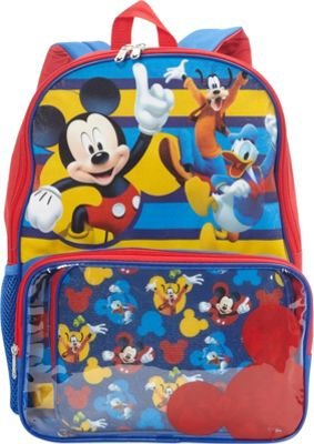 Disney Mickey Backpack with Lunch Bag Window Pocket Red - Disney Kids' Backpacks