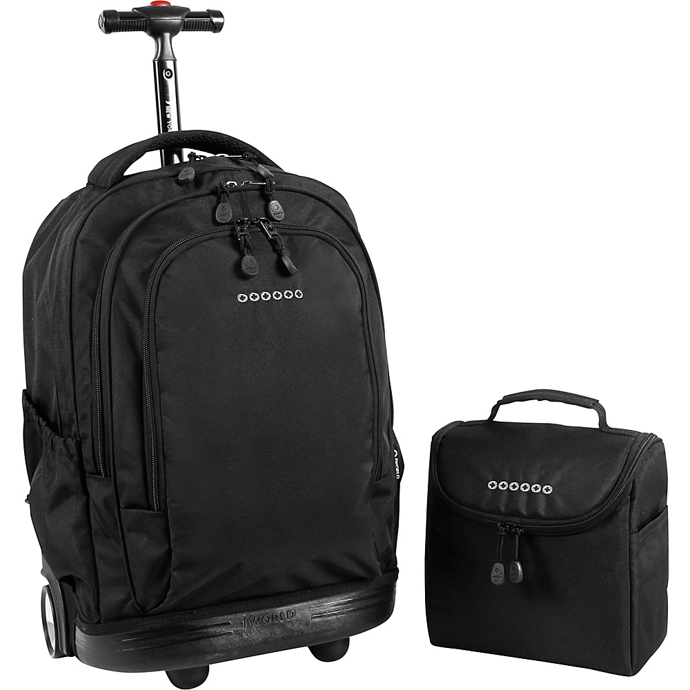 J World New York Setbeamer Rolling Backpack with Lunch Bag Black - J World New York Rolling Backpacks - Backpacks, Rolling Backpacks