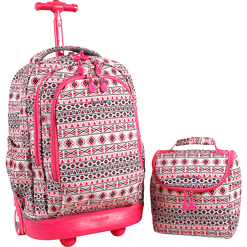 J World New York Setbeamer Rolling Backpack with Lunch Bag Skandi Pink - J World New York Rolling Backpacks - Backpacks, Rolling Backpacks