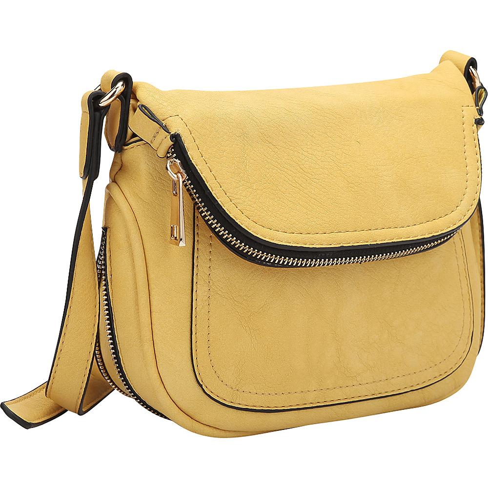 Dasein Front Flap Crossbody Bag Yellow - Dasein Manmade Handbags - Handbags, Manmade Handbags