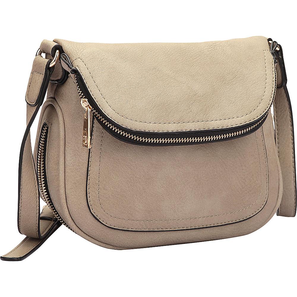 Dasein Front Flap Crossbody Bag Stone - Dasein Manmade Handbags - Handbags, Manmade Handbags