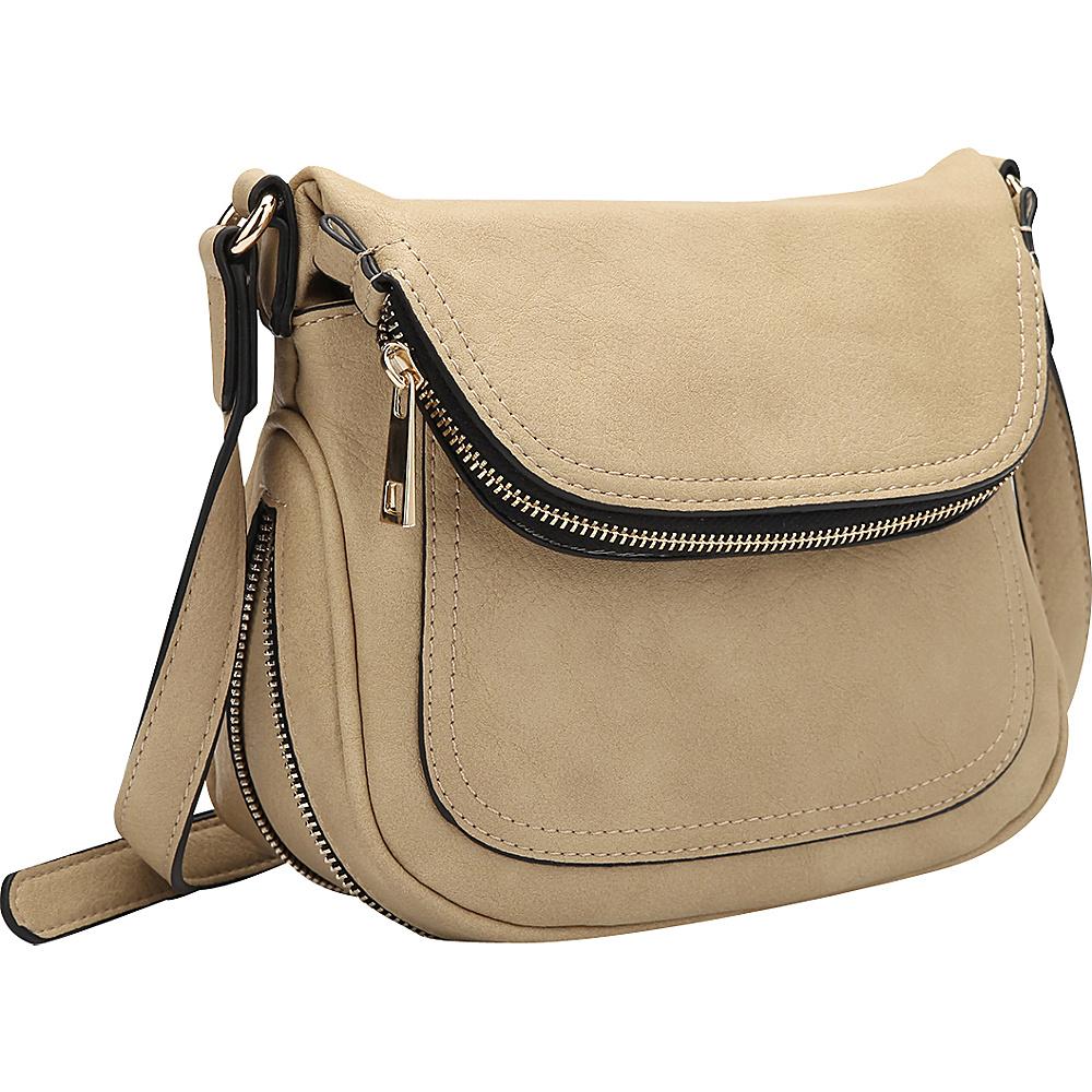 Dasein Front Flap Crossbody Bag Beige - Dasein Manmade Handbags - Handbags, Manmade Handbags