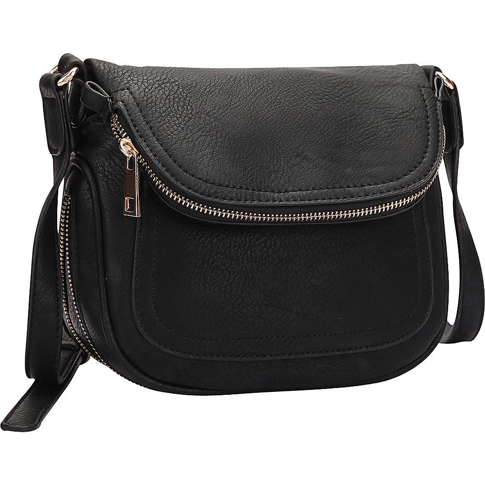 Dasein Front Flap Crossbody Bag Black - Dasein Manmade Handbags - Handbags, Manmade Handbags