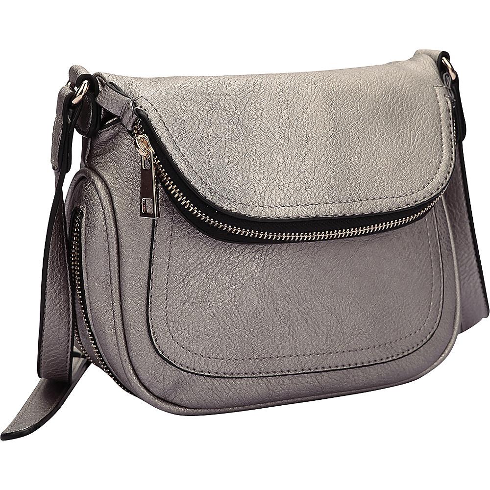 Dasein Front Flap Crossbody Bag Pewter - Dasein Manmade Handbags - Handbags, Manmade Handbags