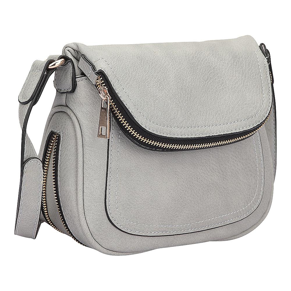 Dasein Front Flap Crossbody Bag Grey - Dasein Manmade Handbags - Handbags, Manmade Handbags