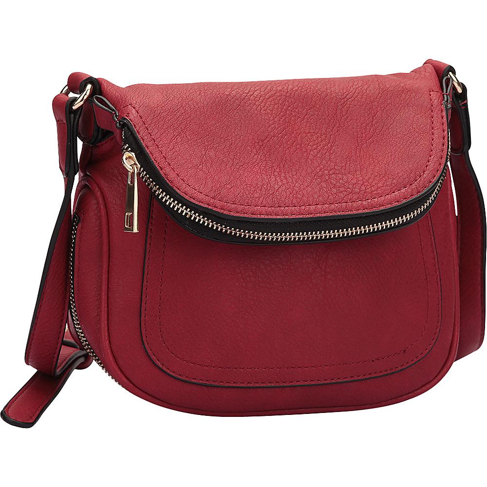 Dasein Front Flap Crossbody Bag Red - Dasein Manmade Handbags - Handbags, Manmade Handbags