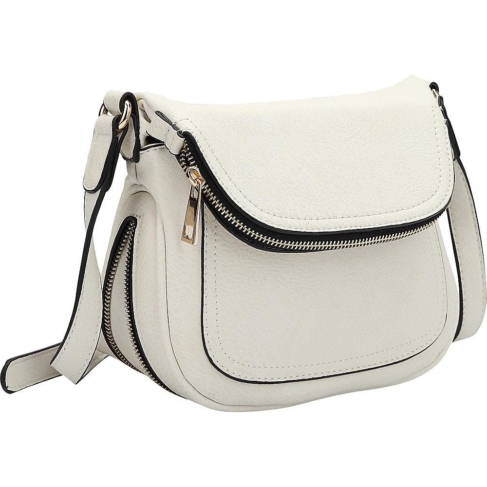 Dasein Front Flap Crossbody Bag White - Dasein Manmade Handbags - Handbags, Manmade Handbags