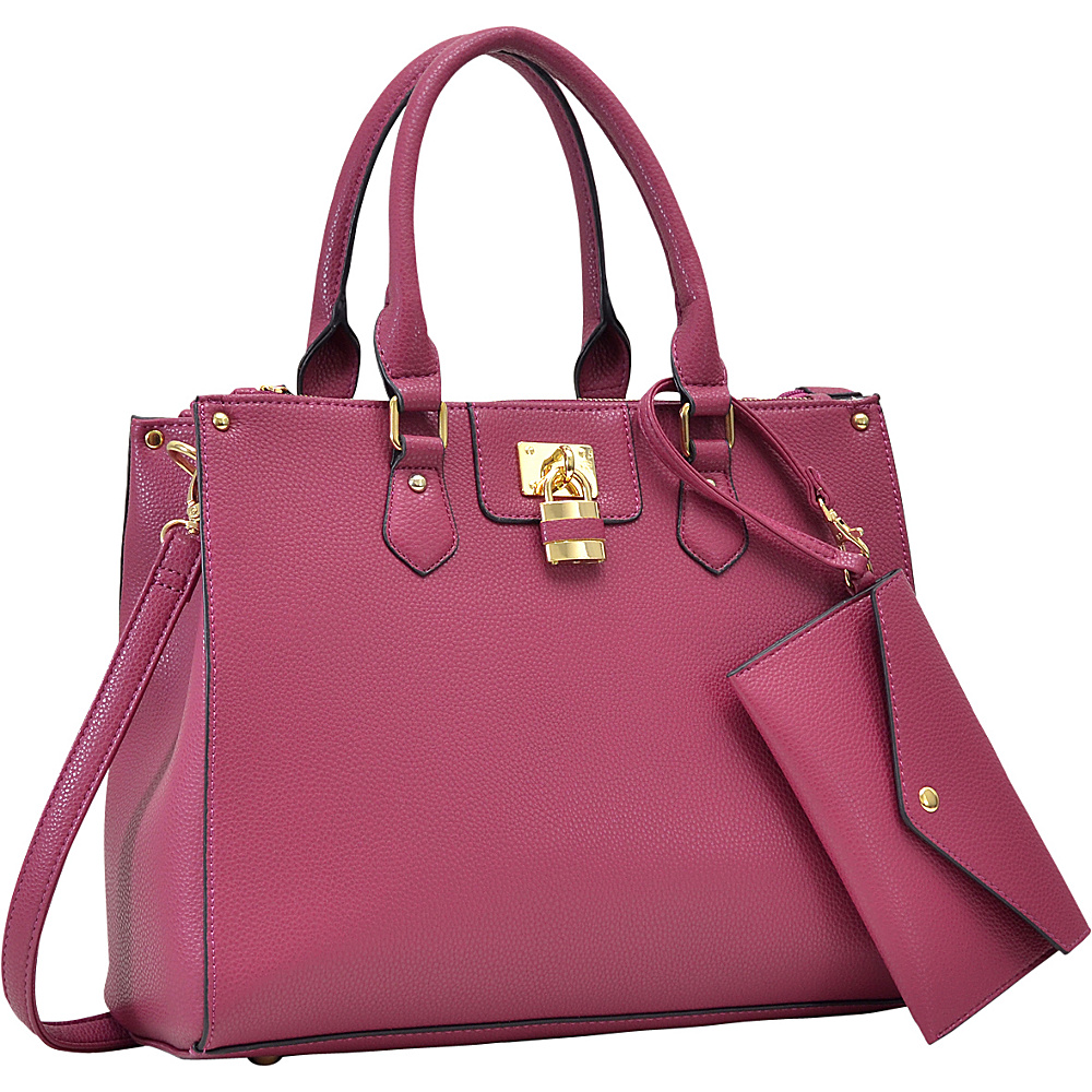 Dasein Padlock Deco Satchel with Matching Wristlet Burgundy - Dasein Manmade Handbags - Handbags, Manmade Handbags