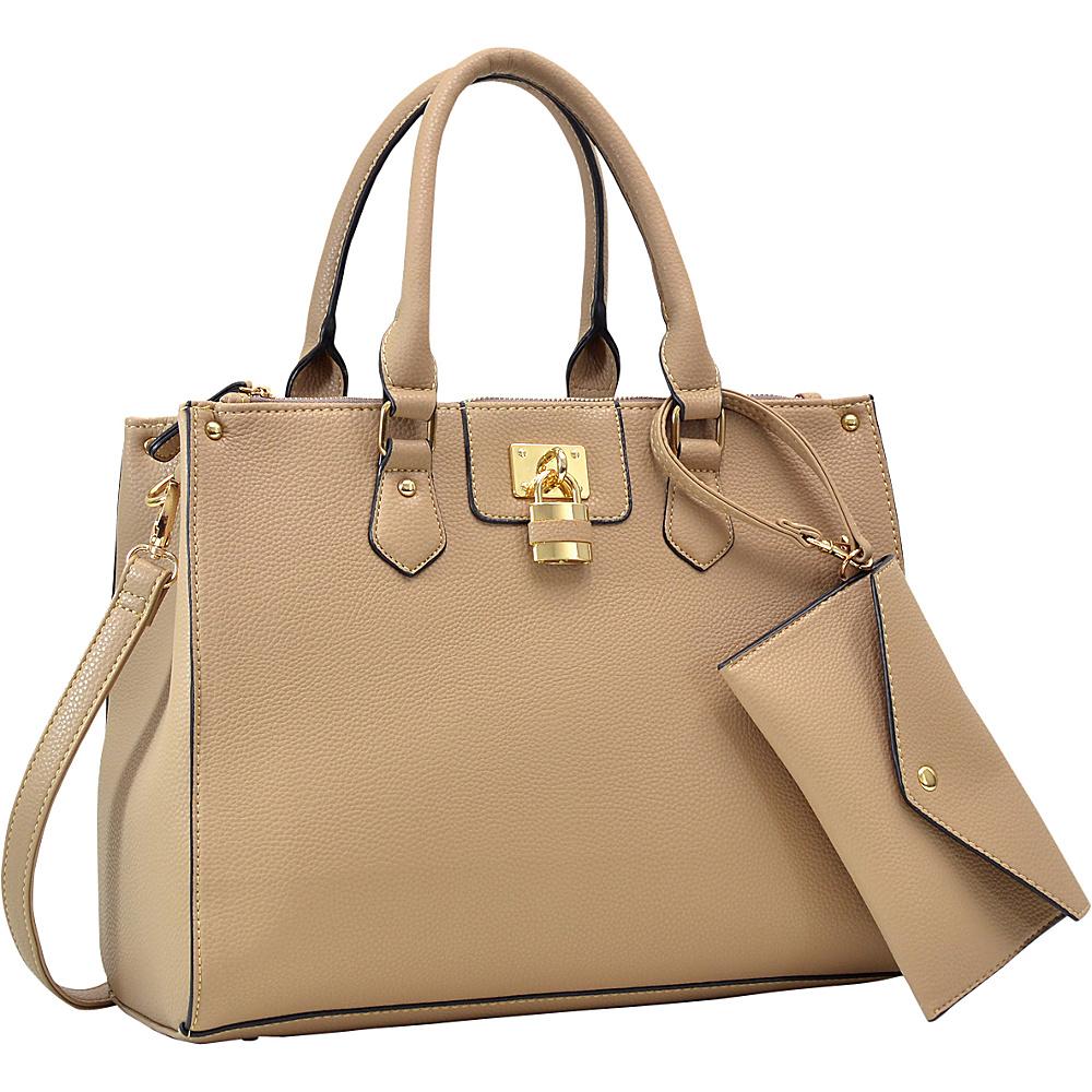 Dasein Padlock Deco Satchel with Matching Wristlet Beige - Dasein Manmade Handbags - Handbags, Manmade Handbags