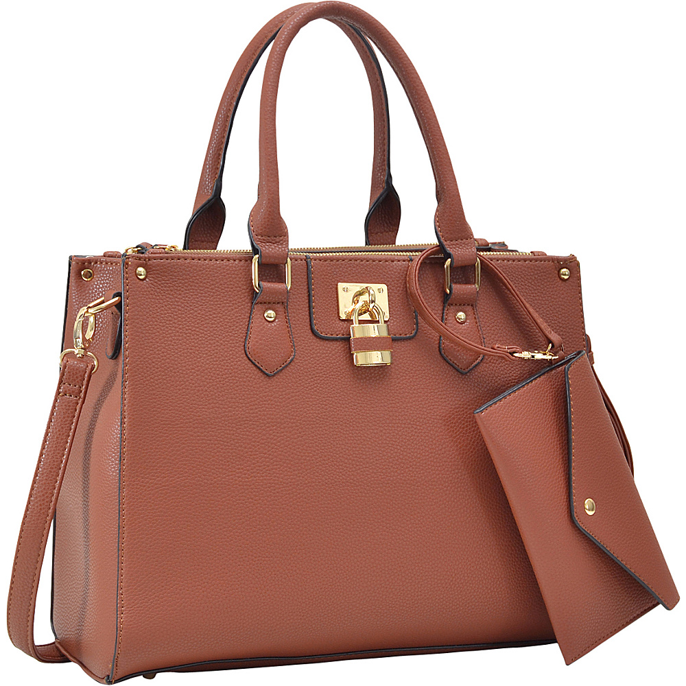 Dasein Padlock Deco Satchel with Matching Wristlet Brown - Dasein Manmade Handbags - Handbags, Manmade Handbags