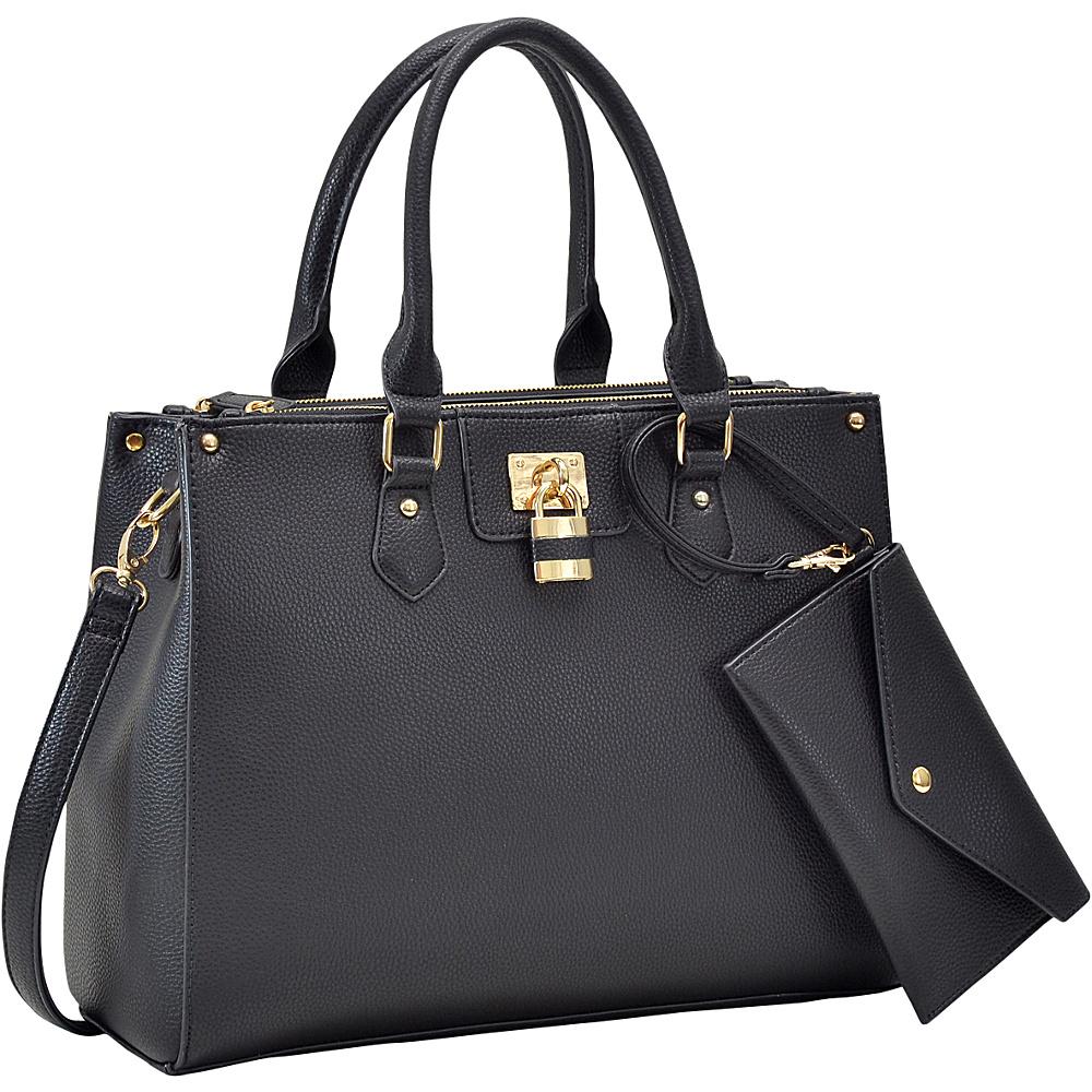 Dasein Padlock Deco Satchel with Matching Wristlet Black - Dasein Manmade Handbags - Handbags, Manmade Handbags