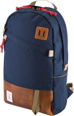 Topo Designs Daypack Laptop Backpack Navy/Leather - Topo Designs Laptop Backpacks