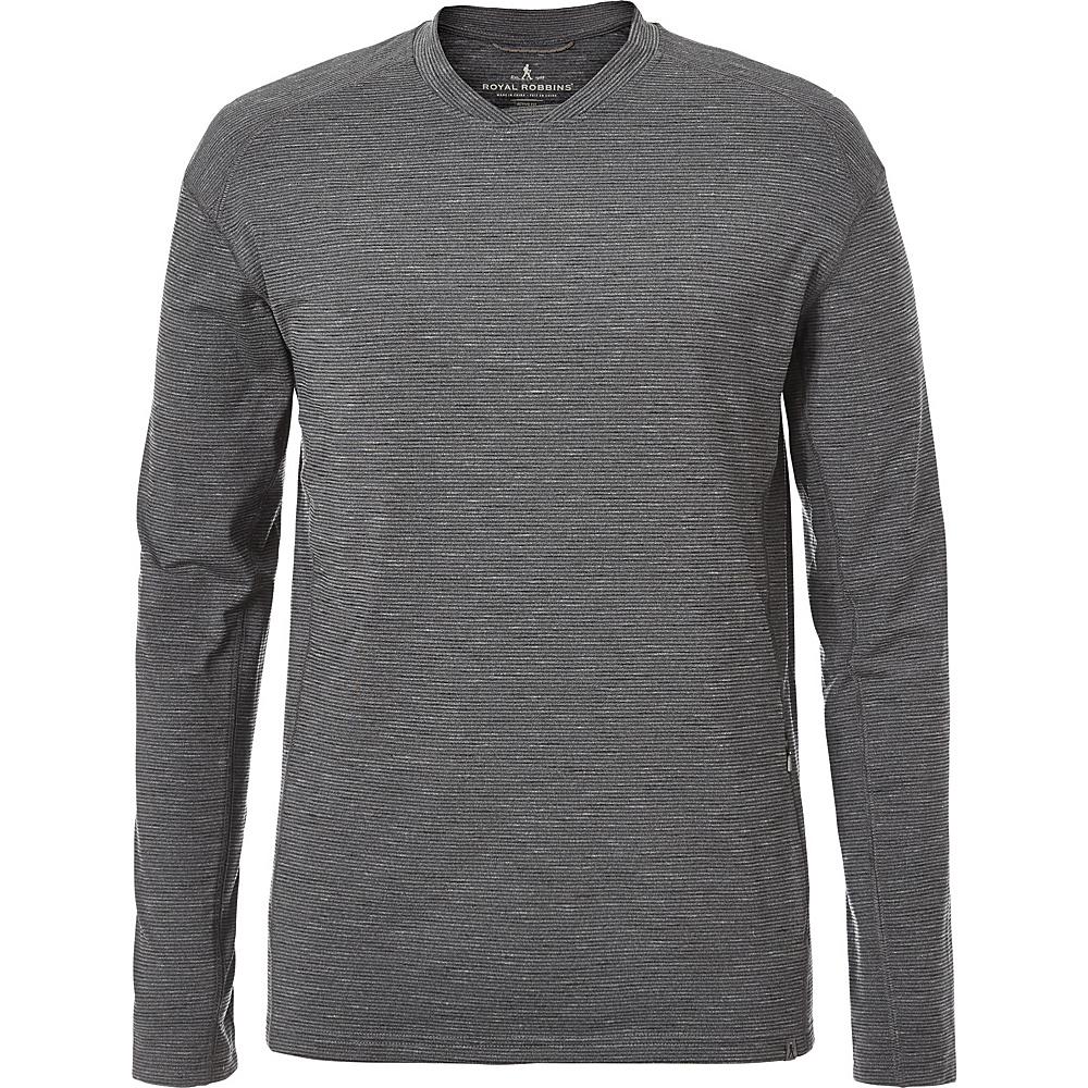 Royal Robbins Mens Long Distance Long Sleeve Shirt M - Charcoal - Royal Robbins Mens Apparel - Apparel & Footwear, Men's Apparel