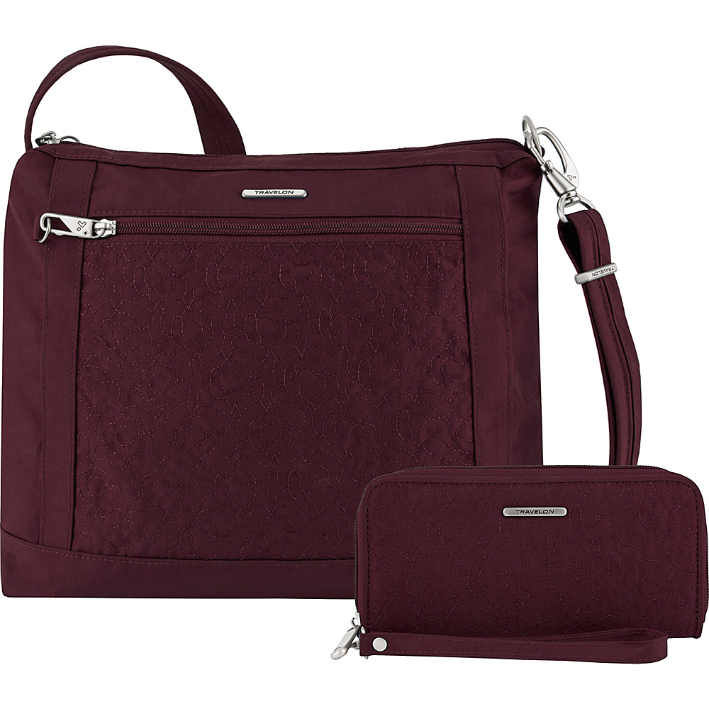 Travelon Anti-Theft Square Crossbody and Wallet Set - Exclusive Dark Bordeaux/Dusty Rose Interior - Travelon Fabric Handbags - Handbags, Fabric Handbags