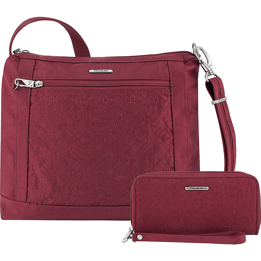 Travelon Anti-Theft Square Crossbody and Wallet Set - Exclusive Ruby/Dusty Rose Interior - Travelon Fabric Handbags - Handbags, Fabric Handbags