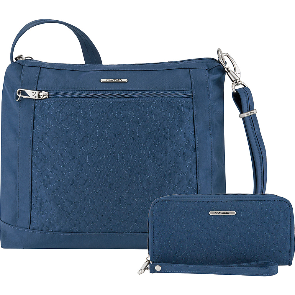 Travelon Anti-Theft Square Crossbody and Wallet Set - Exclusive Ocean/Teal Interior - Travelon Fabric Handbags - Handbags, Fabric Handbags