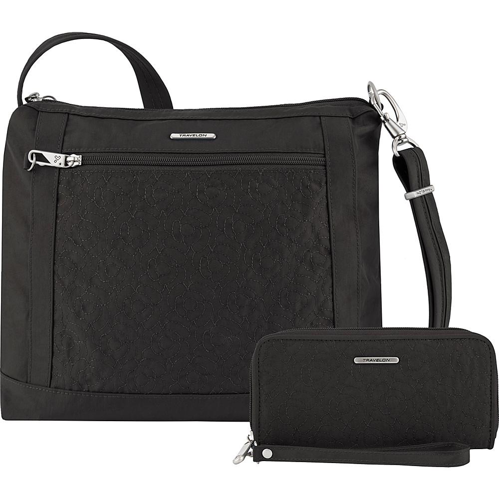 Travelon Anti-Theft Square Crossbody and Wallet Set - Exclusive Black/Dark Emerald Interior - Travelon Fabric Handbags - Handbags, Fabric Handbags