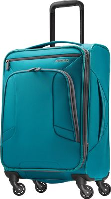 "Image of American Tourister 4 Kix 21"" Expandable Spinner Carry-On Luggage Teal - American Tourister Softside Carry-On"