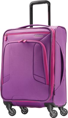 "Image of American Tourister 4 Kix 21"" Expandable Spinner Carry-On Luggage Purple/Pink - American Tourister Softside Carry-On"