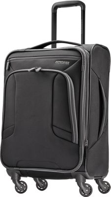 "Image of American Tourister 4 Kix 21"" Expandable Spinner Carry-On Luggage Black/Grey - American Tourister Softside Carry-On"