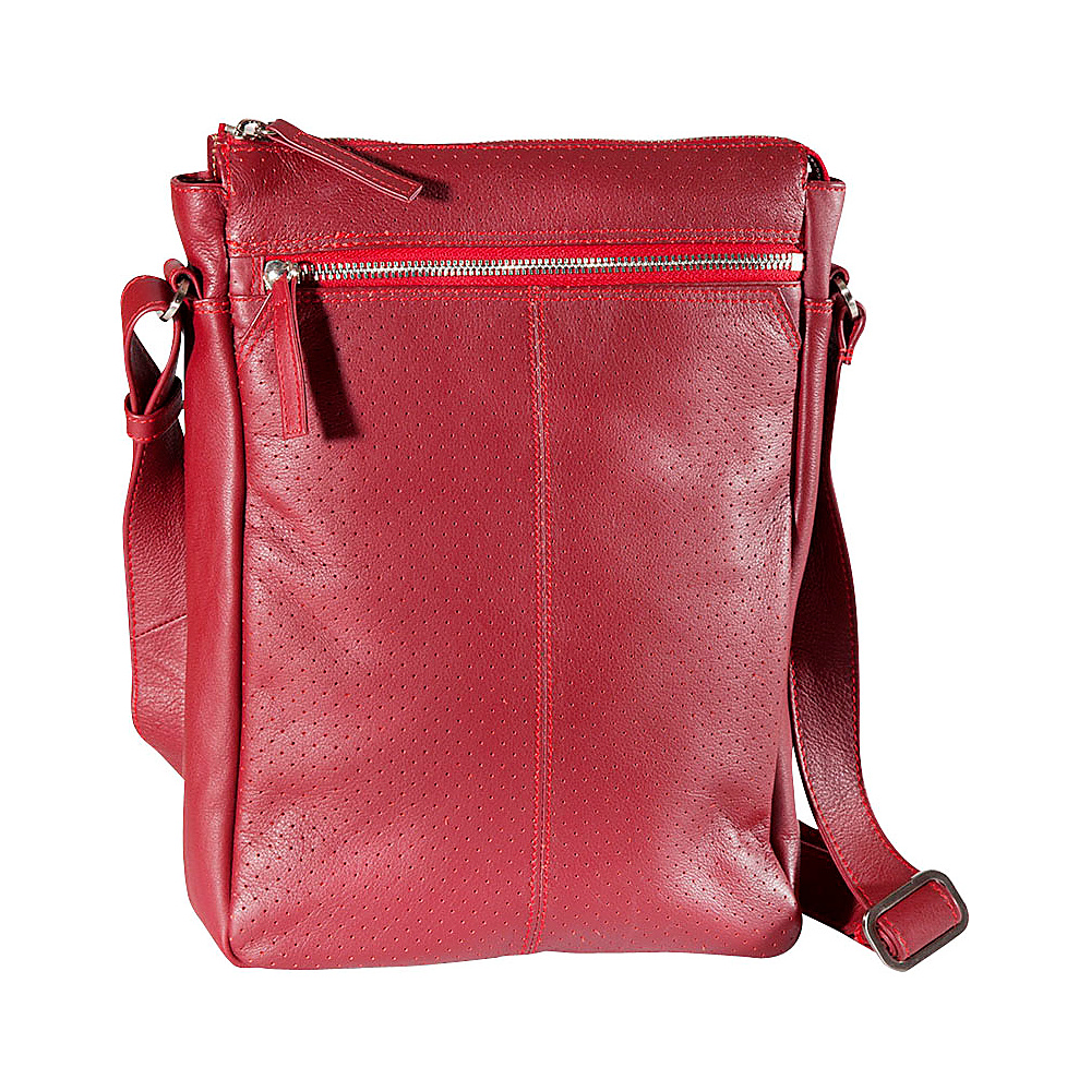 Derek Alexander N/S Top Zip Crossbody Red - Derek Alexander Leather Handbags - Handbags, Leather Handbags