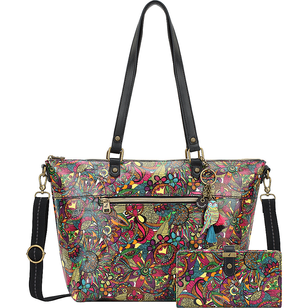 Sakroots City Satchel with Slim Charging Wallet Rainbow Spirit Desert - Sakroots Fabric Handbags - Handbags, Fabric Handbags
