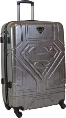 DC Comics Superman 26 inch Hardside Spinner Checked Luggage Silver - DC Comics Hardside Checked
