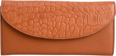 Phive Rivers Multi-Compartment Croco Leather Clutch Wallet Tan - Phive Rivers Women's Wallets