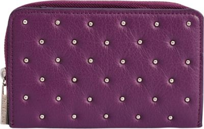 Phive Rivers Riveted Zip Around Clutch Leather Wallet Purple - Phive Rivers Women's Wallets