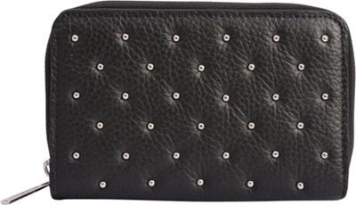 Phive Rivers Riveted Zip Around Clutch Leather Wallet Dark Grey - Phive Rivers Women's Wallets