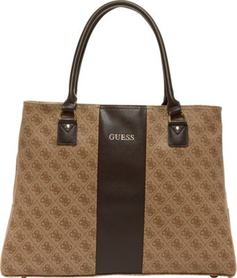 GUESS Travel Nissana Shopper Tote Brown with Gold Hardware - GUESS Travel Luggage Totes and Satchels