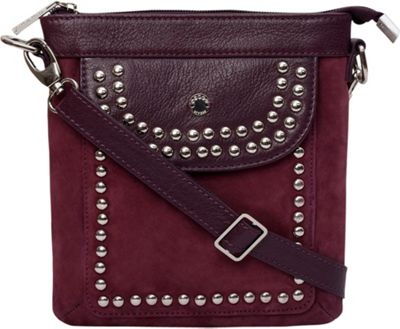 Phive Rivers Riveted Front Pocket Crossbody Burgundy - Phive Rivers Leather Handbags