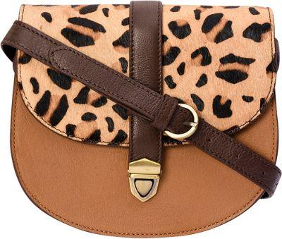 Phive Rivers Animal Print Flapover Crossbody Tan - Phive Rivers Leather Handbags