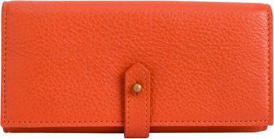 Phive Rivers Triple Compartment Pebbled Leather Clutch Wallet Orange - Phive Rivers Women's Wallets